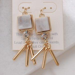 Semi-Precious Stone Jewel Tassel Stud Earrings